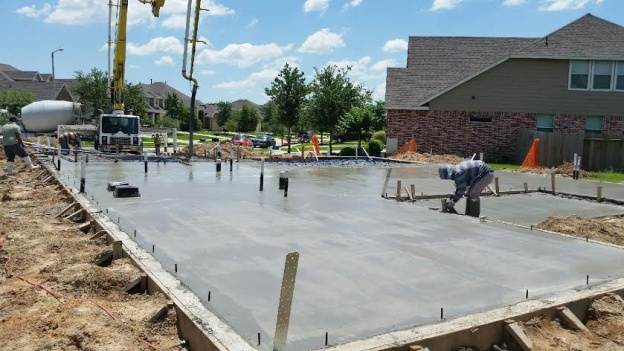 pouring foundation slab