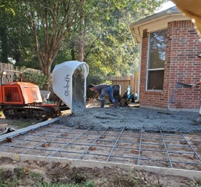 pouring backyard concrete patio extension